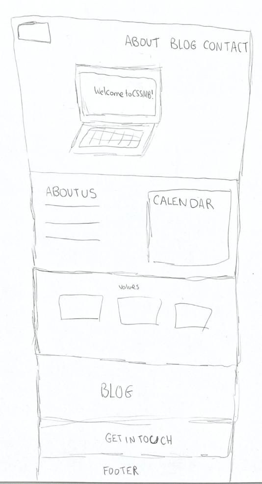 Anna Stubler's low fidelity sketch for the layout of the club website homepage