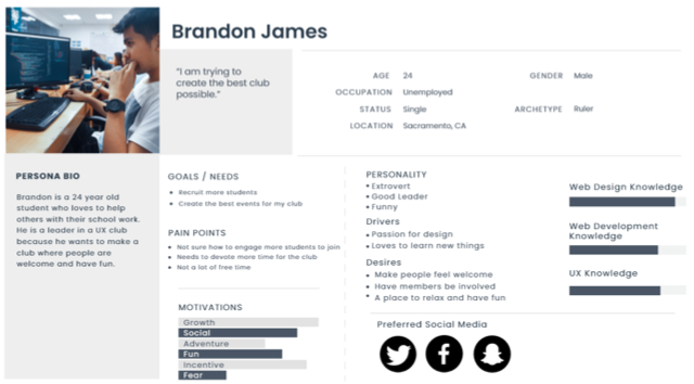 User persona for Brandon James, a UX club leader