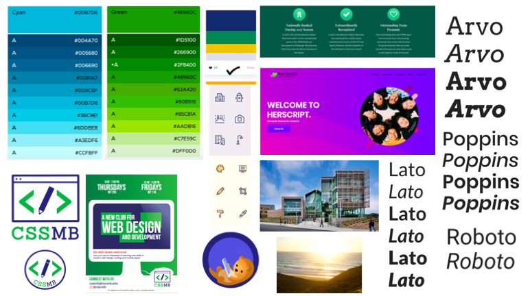 Moodboard for the club website including a blue and green color scheme, and modern typography and icons